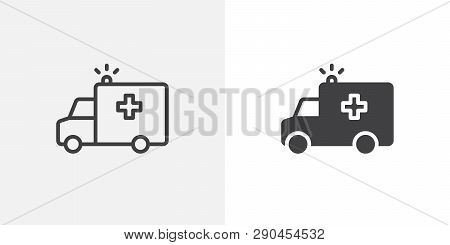 Ambulance Truck With Siren Icon. Line And Glyph Version, Outline And Filled Vector Sign. Ambulance C