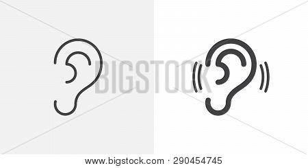 Ear, Hearing Icon. Line And Glyph Version, Outline And Filled Vector Sign. Human Ear Organ Linear An