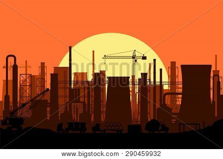 Panoramic Industrial Silhouette Landscape. Smoking Factory Pipes. Plant Pipes, Sky With Sun. Carbon