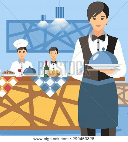 Waitress Holding Plate With Lid Cartoon Character. Restaurant Interior, Hotel Buffet Flat Vector Ill