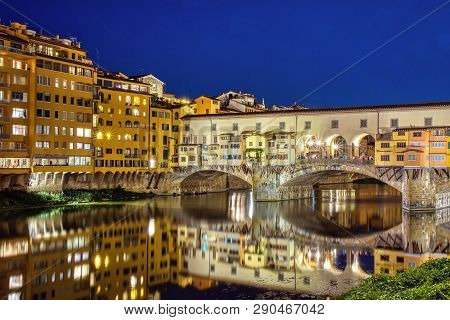 Florence, Italy - June 26, 2018: Ponte Vecchio In Florence, Italy, On A Summer Night. Thousands Of T