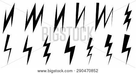 Set Of Icons Thunder And Lightning, Vector Symbol Z Sign Zigzag Lightning