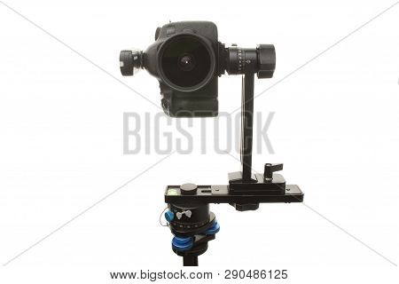 Panoramic Head For A Tripod For The Making Of Virtual Tours And Full Seamless 360 Degrees Angle Pano
