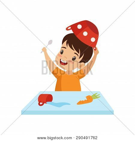Boy Dabbling With Food At Table, Cute Naughty Kid, Bad Child Behavior Vector Illustration