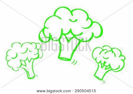 Vector Hand Draw Sketch, Green Outline Three Brocoli