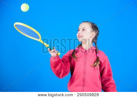 Tennis Player With Racket And Ball. Little Teen Girl. Fitness Diet Brings Health And Energy. Happy C