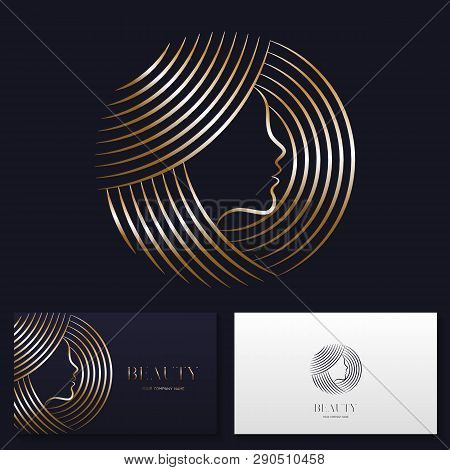 Beauty Salon Or Hair Salon Logo Design Vector Sign. Stock Vector Emblem And Business Card Templates.