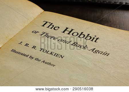 Wrexham United Kingdom - March 17 2019: A Vintage Paperback Edition Title Page Of The Hobbit Written