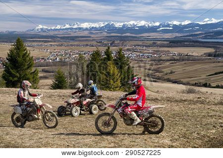 Klin, Slovakia - March 17: Cross Motorbikes At Region Orava On March 17, 2019 In Klin