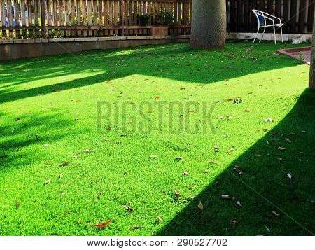 Close Up Of The Artificial Grass Turf Background.