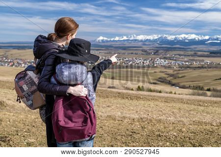 Hikers Showing On High Tatras Mountains. Slovakia