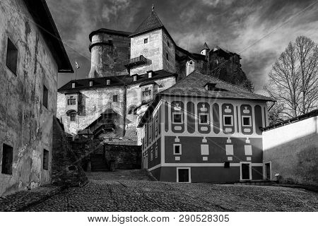 Courtyard In Orava Castle, Slovakia. Black And White Photo