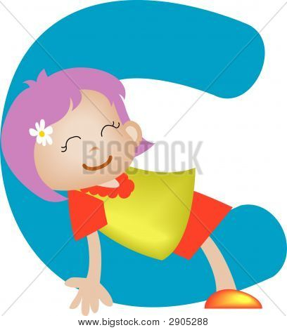 Girl With Alphabet Letter C