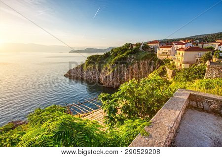 Incredible morning seascape in the city of Vrbnik. Location Krk island, Primorsko-Goranska Zupanija, Croatia, Europe. Scenic image of popular european travel destination. Discover the beauty of earth.