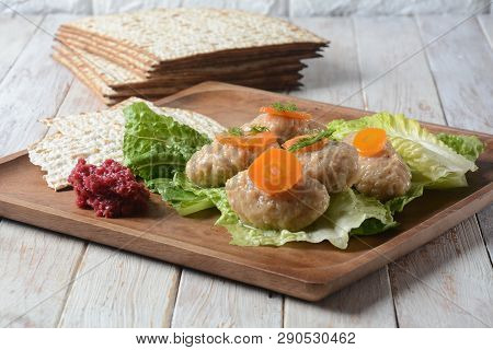 Passover Pesach Traditional Jewish Food - Gefilte Fish With, Lettuce, Carrots, Horse Radish And Matz
