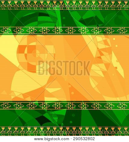 Yellow Green Colored Image Of Frame With Abstract Figures
