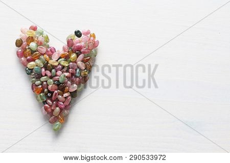 Heart. Beautiful Heart Made Of Natural Stone Tourmaline. Heart On A White Background. Greeting Card