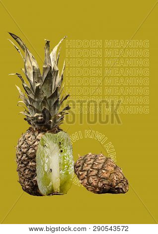 A Paradox. Unusual Fruit - Pineapple Outside Anq Kiwi Inside. Unexpected Mix. Hidden Meaning Concept