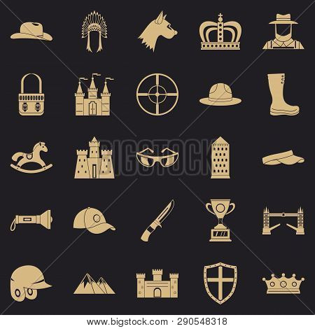 Equestrian Icons Set. Simple Set Of 25 Equestrian Vector Icons For Web For Any Design
