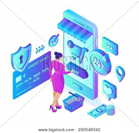 Online Shopping. 3d Isometric Online Store. Shopping Online On Website Or Mobile Application. Woman