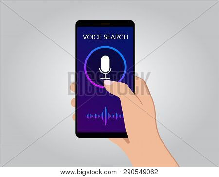 Voice Search Optimization On Smart Mobile Phone Screen Flat Vector Illustration, Banner For Site Wit