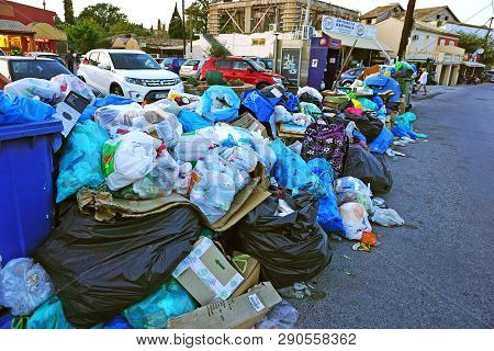 Corfu, Greece, October 18, 2018, Waste Scattered Throughout The Island Provokes Criticism From The P