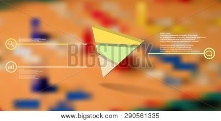 3d Illustration Infographic Template. The Embossed Triangle Is Randomly Divided To Three Color Parts