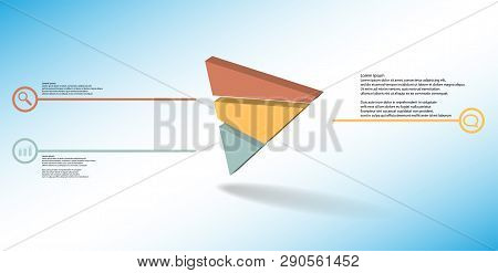 3D Illustration Infographic Template With Embossed Triangle Randomly Divided To Three Parts