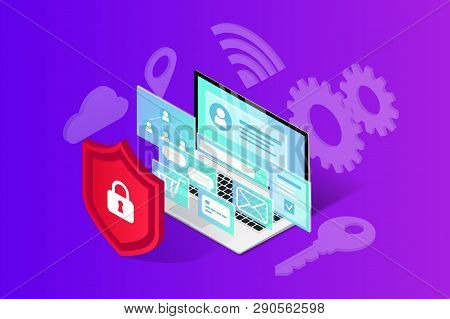 Isometric Internet Security Banner. Data Protection Vector Illustration With Laptop, 3d Screen And S