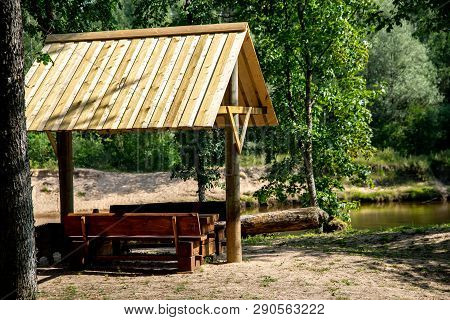 Boats Rent Base. Recreation Base Near The River Gauja In Latvia. The Gauja Is The Longest River In L