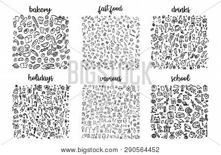 Hand Drawn Icons Set And Elements Pattern. Digital Illustration, Bakery Doodles Elements, Holidays S