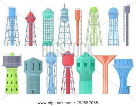 Water Tower Vector Tank Storage Watery Resource Reservoir And Industrial High Metal Container Water-