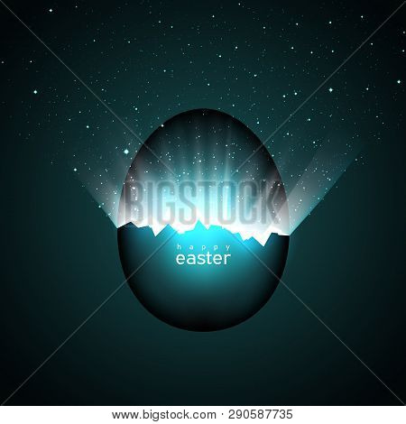 Broken Easter Egg And Universe. Rays Of Light And Space With Stars From Cracks In An Easter Egg On A