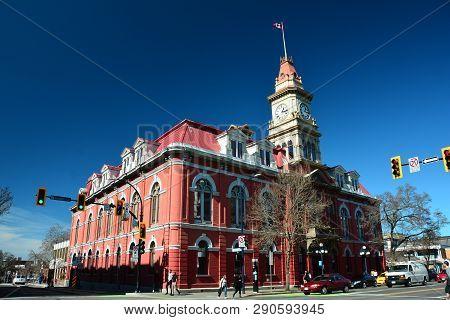 Victoria Bc,canada,march 19th 2019.city Hall Building In Victoria Bc,canada Shows Off Fine Victorian