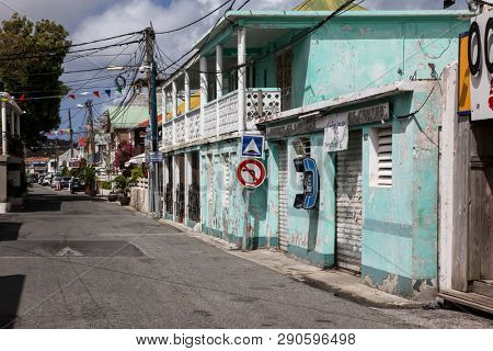 GRAND CASE, ST. MAARTEN -  AUGUST 02, 2015: Empty Street from Grand Case, from French island side.