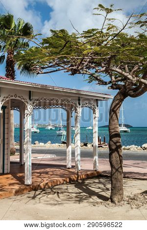 MARIGOT, SINT MAARTEN - JULY 31, 2015: Fish market area from town Marigot  with water side in French part island.