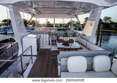 NORWALK, CONNECTICUT, USA - SEPTEMBER 22, 2016. AZIMUT 66 boat top deck at Norwalk boat show.