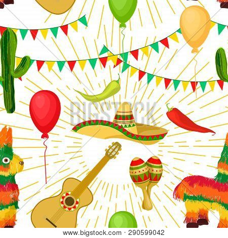 Cinco De Mayo - May 5, Federal Holiday In Mexico. Seamless Pattern Of Mexican Culture Symbols Maraca