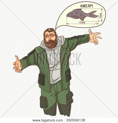 Thr Fisherman Hooked Big Bream. Vector Illustration