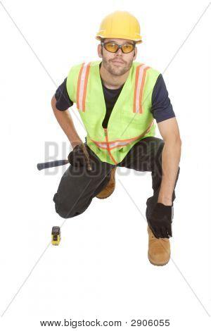 Construction Worker Kneeling
