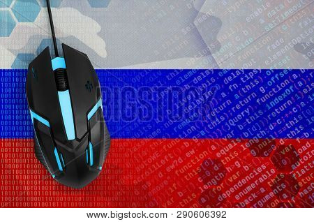 Russia Flag  And Computer Mouse. Digital Threat, Illegal Actions On The Internet