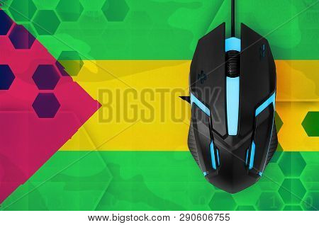 Sao Tome And Principe Flag  And Computer Mouse. Concept Of Country Representing E-sports Team