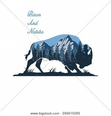 Wild Bull And Nature Illustration