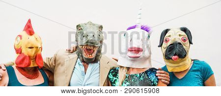 Happy Family Wearing Different Carnival Masks - Crazy People Having Fun Wearing On Chicken, Carlino,