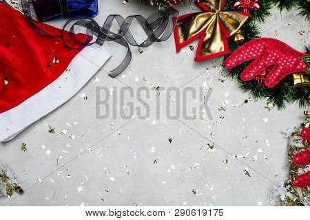 Top View Of Chirstmas Holidays Composition On Grey Cement Concrete Background With Copy Space For Yo