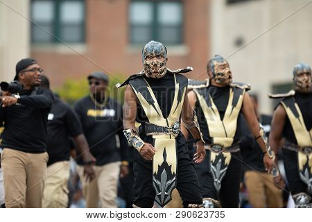 Indianapolis, Indiana, Usa - September 22, 2018: The Circle City Classic Parade, Members Of The Alph