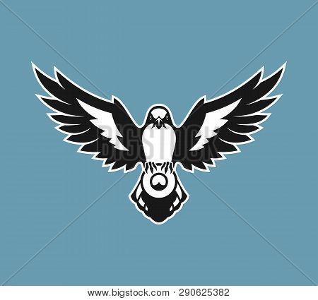 Bird Silhouette. Shrike Bird With Spread Wings