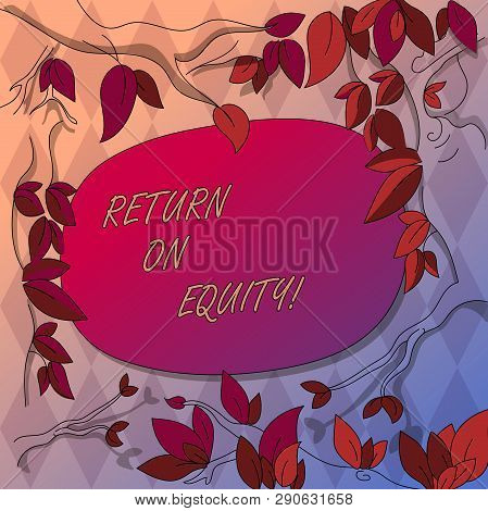 Writing note showing Return On Equity. Business photo showcasing profitability business in relation to value of shareholder Tree Branches Scattered with Leaves Surrounding Blank Color Text Space. poster