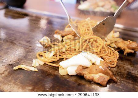 Yakisoba In Teppanyaki Pan At Restaurant.  Japan Food Concept