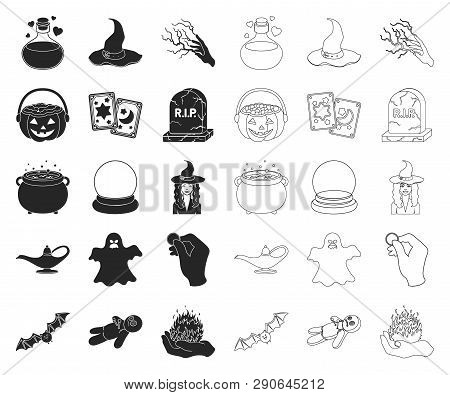 Black, Outline And White Magic Black, Outline Icons In Set Collection For Design. Attributes And Sor